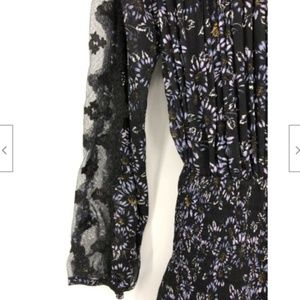 Free People Dresses - Free People Black Floral Dress Pleated Small Sheer